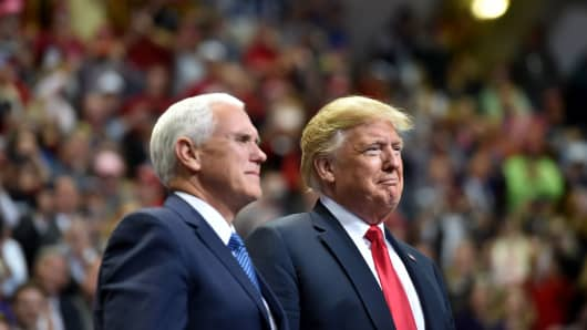 US President Donald Trump and US Vice President Mike Pence at the 'Make America Great Again' campaign rally at McKenzie Arena, in Chattanooga, Tennessee on November 4, 2018.