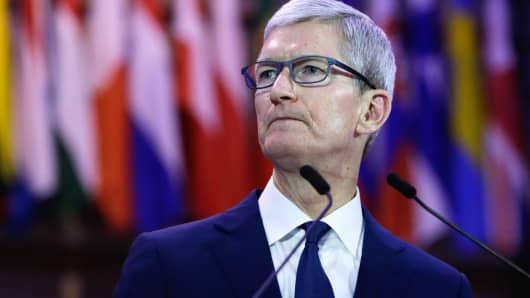 Tim Cook, CEO of Apple, speaks in Brussels, on October 24, 2018.