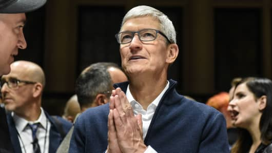 Tim Cook, CEO of Apple speaks while unveiling new products during a launch event on October 30, 2018 in New York City.