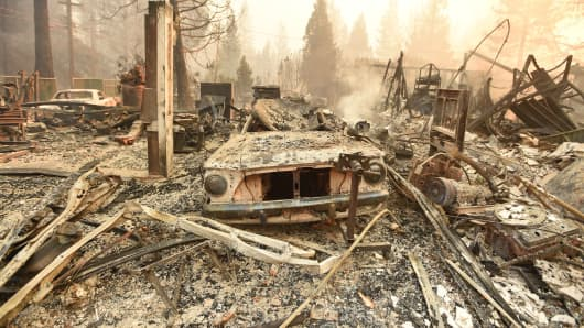 The burned remains of a vehicle and home are seen during the Camp fire in Paradise, California on November 8, 2018.
