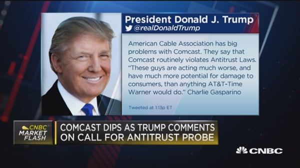 Comcast dips following Trump comments on antitrust probe
