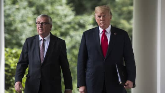 President Donald J. Trump and Jean-Claude Juncker President of the European Commission walk out for a joint statement about how the US will work with the European Union to try and eliminate trade tariffs, in the Rose Garden of the White House on Wednesday, July 25, 2018 in Washington, DC.