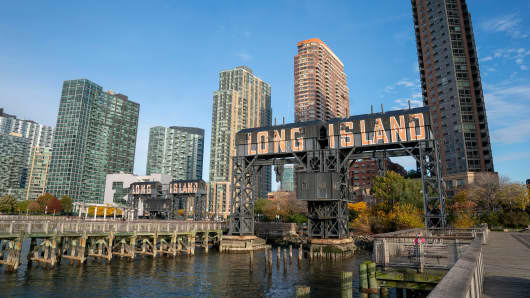 A view of the waterfront of Long Island City in the Queens borough of New York, along the East River, on November 7, 2018.