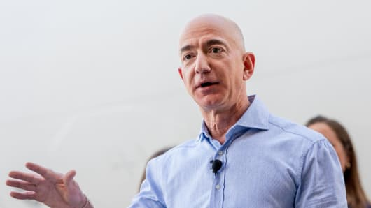 Jeff Bezos, founder and CEO of Amazon, speaks to a group of Amazon employees that are veterans during an Amazon Veterans Day celebration on Monday, November 12, 2018.