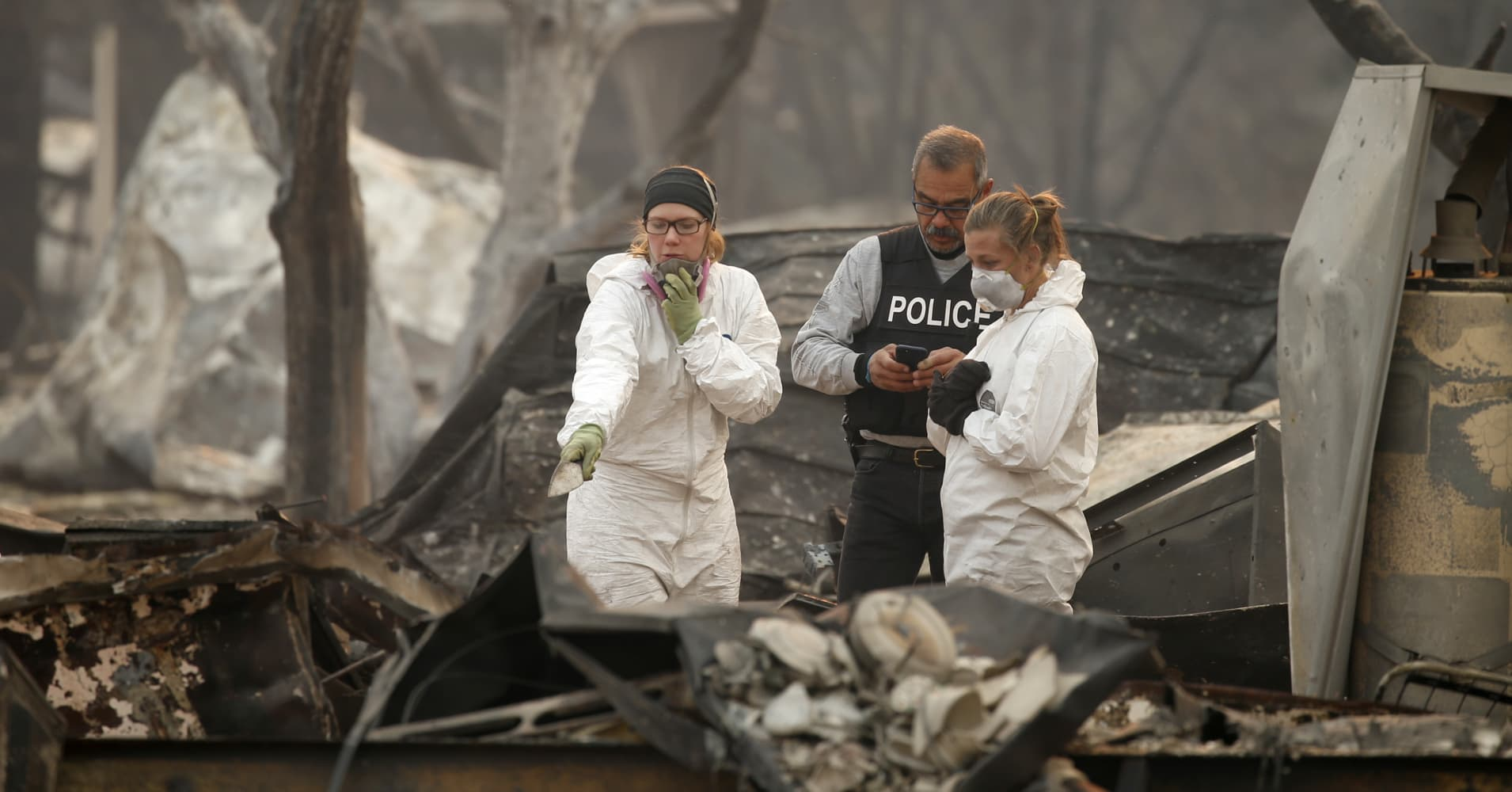 Rain could hamper the search for victims of the California wildfires