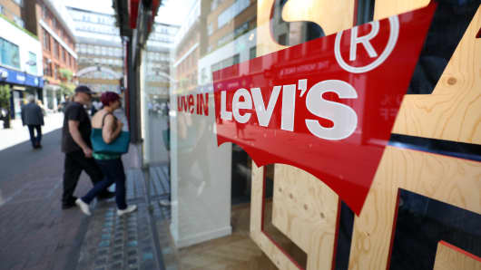 A Levi's logo on the window of a Levi Strauss & Co. store in London.