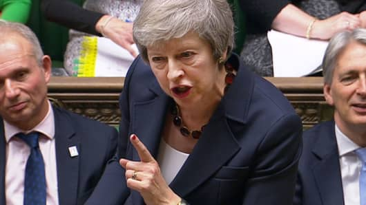 A still image from a video footage shows Britain's Prime Minister Theresa May speaking during Prime Minister's Questions in the House of Commons, in central London, Britain November 14, 2018.