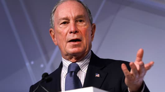 Michael Bloomberg, former Mayor of New York City, speaks at CityLab Detroit, a global city summit, on October 29, 2018 in Detroit, Michigan.