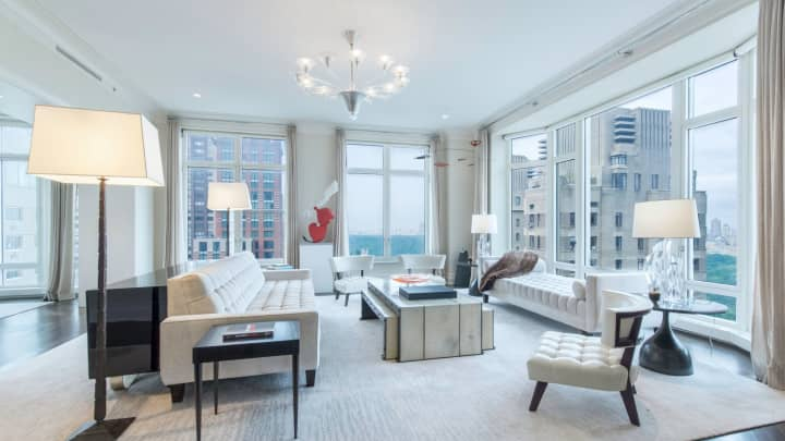 The living room of 15 Central Park West, #28D