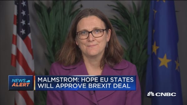 EU's Cecilia Malmstrom hopes that European Union nations will support the new draft Brexit deal