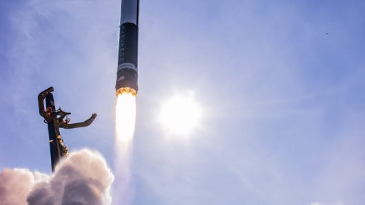 Rocket Lab's Electron rocket lifts off in the company's first commercial launch.