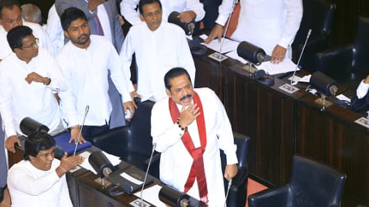 Mahinda Rajapaksa is seen during a special parliamentary session at the Parliamentary complex, Colombo, Sri Lanka on 14 November 2018.