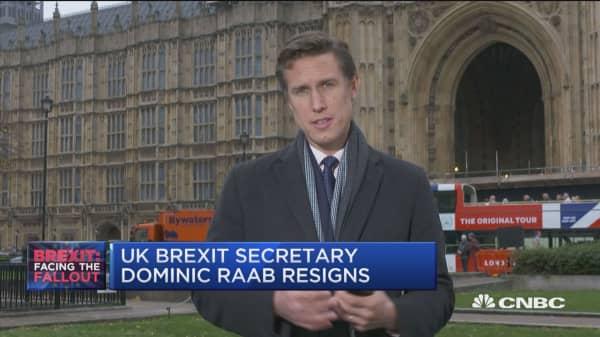 UK Brexit secretary Dominic Raab resigns
