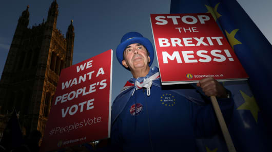 An anti-Brexit demonstrator hold placards opposite the Houses of Parliament, in London, Britain, November 13, 2018.