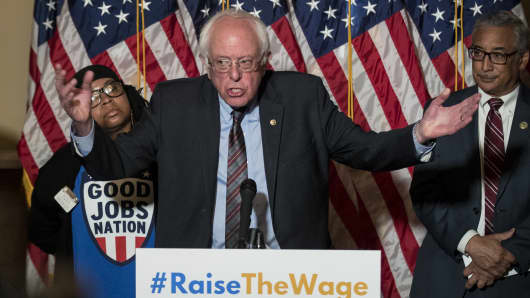 Sen. Bernie Sanders (D-VT) speaks during a press conference to discuss legislation for a 15 dollar minimum wage, on Capitol Hill, May 25, 2017 in Washington, DC. 31 Democrats have pledged to support the legislation so far.