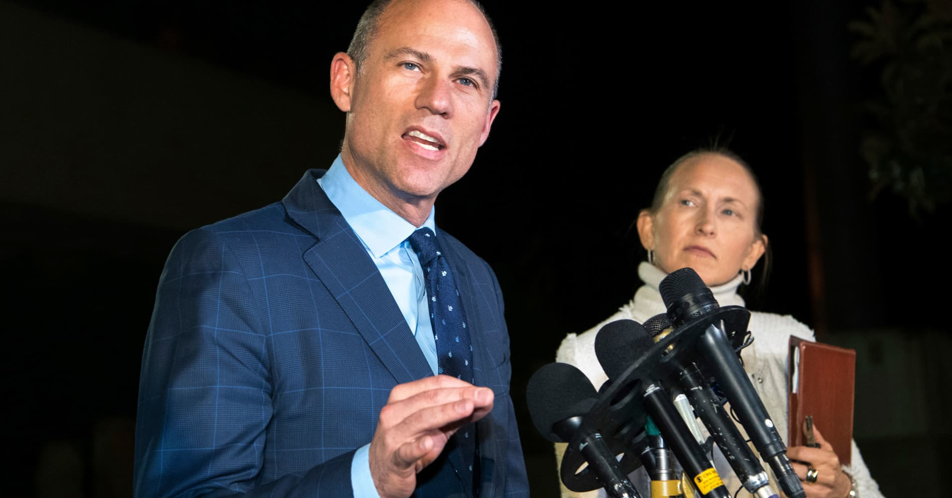 Michael Avenatti denies domestic violence claim as wives support him