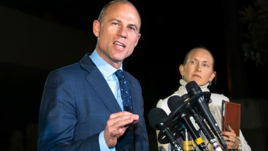 Michael Avenatti speaks to the media outside the Los Angeles Police Department's Pacific Division after being released from police custody following his arrest on a felony domestic violence charge, Wednesday, Nov. 14, 2018, in Los Angeles.