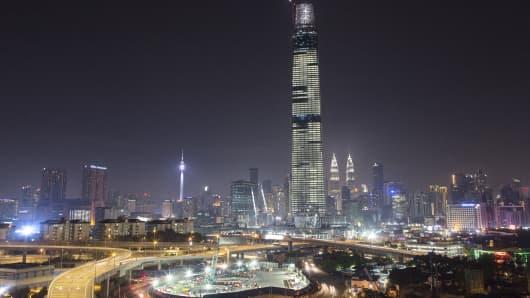 General view of the Kuala Lumpur city with the Tun Razak Exchange Tower in view on July 28, 2018 in Kuala Lumpur, Malaysia.