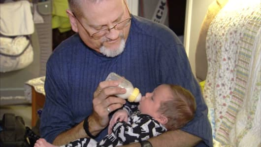 James Addie with his grandson Andrew Michael. Both have hemophilia.