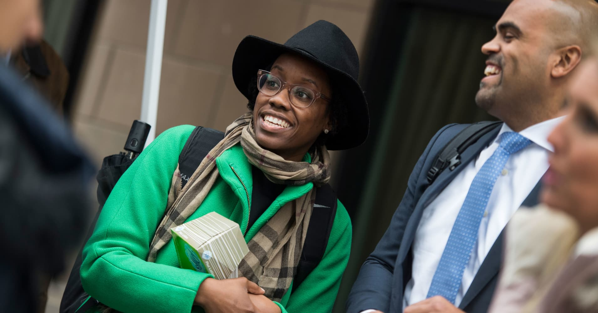 Members-elect Lauren Underwood, D-Ill., and Colin Allred, D-Texas, arrive for New Member Orientation at the Courtyard Marriott in SE, on November 13, 2018.