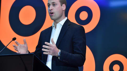 The Duke of Cambridge makes a speech during a visit to BBC Broadcasting House.