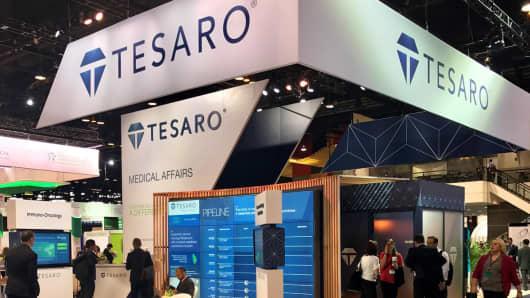 Tesaro exhibit booth