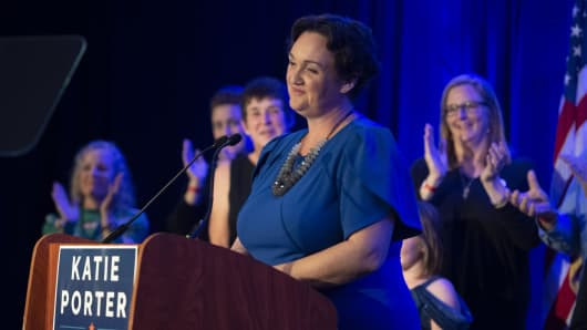 Katie Porter, the Democratic candidate for the 45th Congressional District, speaks to supporters on election night at the Hilton Irvine in Irvine on Tuesday, November 6, 2018.
