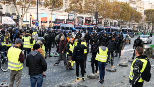 Face to face police and protesters 'Yellow Vests' (Gilets Jaunes in french) in the avenue of Champs-Elysees in Paris.