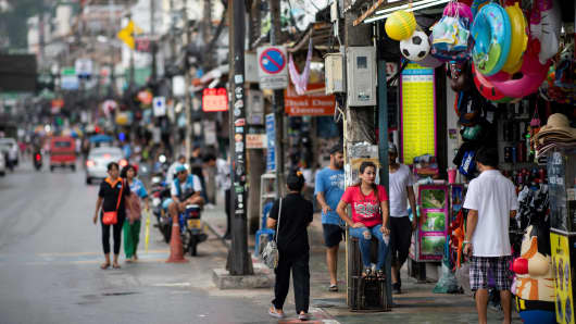 Stores along the Bangla road near the Patong Beach in Phuket on October 12, 2018.