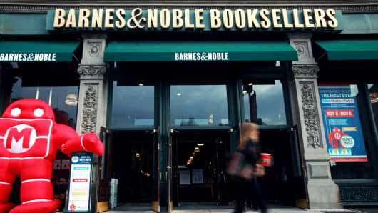 A pedestrian walks past a Barnes & Noble Inc. store at Union Square in the Manhattan borough of New York.