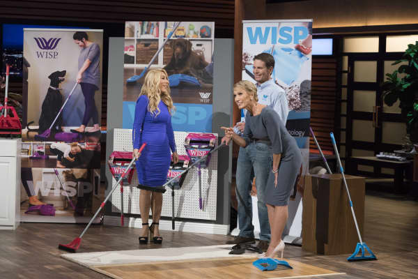 "Eben Dobson pitches his one-handed pull broom and dustpan, Wisp, on ABC's ""Shark Tank,"" on Sunday, Nov. 18."