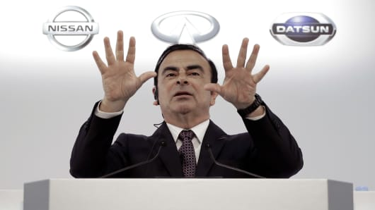 Carlos Ghosn, chief executive officer of Nissan Motor Co., gestures as he speaks during a news conference in Yokohama, Kanagawa Prefecture, Japan, on Thursday, May 12, 2016.