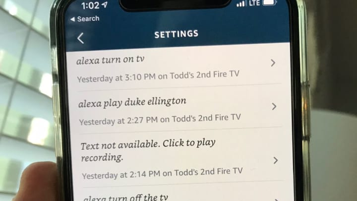 A list of the recordings I've spoken to Alexa.