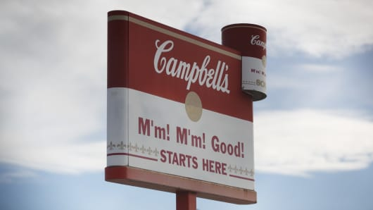 Signage is displayed outside the Campbell Soup Co. factory in Toronto, Ontario, Canada.