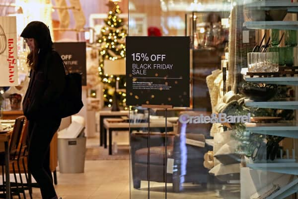 A sign advertises a Black Friday sale at the Crate & Barrel store in the Shops at Chestnut Hill in Newton, MA on Nov. 22, 2017.