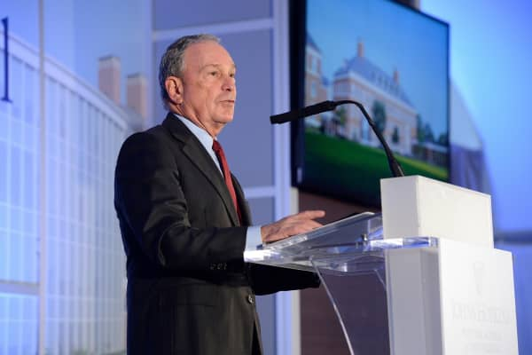 Michael Bloomberg speaking at Johns Hopkins University.