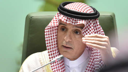 Saudi Foreign Minister Adel al-Jubeir addresses a news conference in the desert kingdom's capital Riyadh on November 15, 2018.