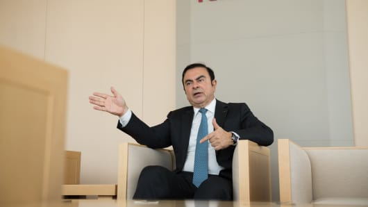 Carlos Ghosn, chairman of Nissan Motor Co., speaks during an interview in Yokohama, Japan, on Thursday, Feb. 23, 2017.
