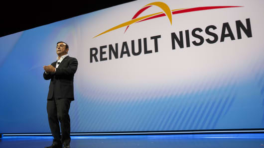 Carlos Ghosn, chairman and chief executive officer of Nissan Motor Co. and Renault SA, speaks during the 2017 Consumer Electronics Show (CES) in Las Vegas, Nevada, U.S., on Thursday, Jan. 5, 2017.