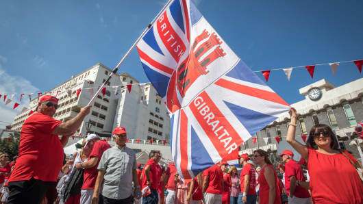 Gibraltarians gather for a political rally in Grand Casements Square held to mark Gibraltar National Day on September 10, 2018 in Gibraltar, Gibraltar.