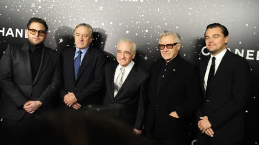Jonah Hill, Robert De Niro, Martin Scorsese, Harvey Keitel and Leonardo DiCaprio attend The Museum Of Modern Art Film Benefit Presented By Chanel, A Tribute To Martin Scorsese at The Museum Of Modern Art, NYC on November 19, 2018 in New York City.