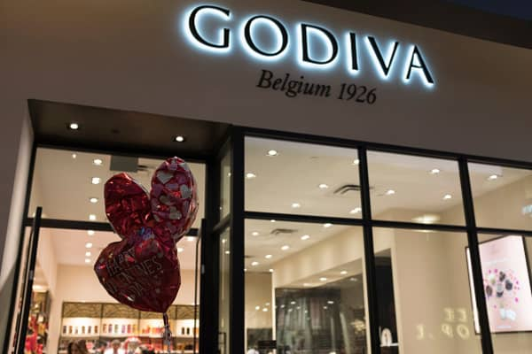 Valentine's Day balloons in front of a Godiva store in Stanford Shopping Center on February 13, 2018, Palo Alto, California.