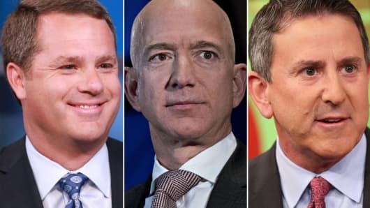 Walmart CEO, Doug McMillon (L), Amazon CEO, Jeff Bezos (C) and Target CEO, Brian Cornell.
