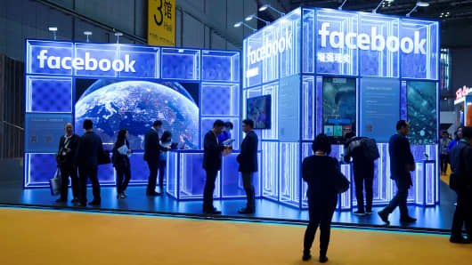 A facebook display during the China International Import Expo (CIIE), at the National Exhibition and Convention Center in Shanghai, China, November 5, 2018.