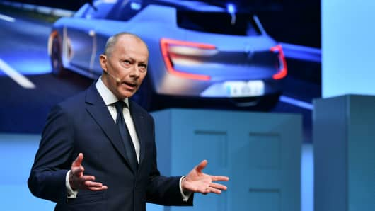 Deputy CDEO of French car maker Renault Thierry Bollore speaks during the first press day of the Geneva International Motor Show on March 6, 2018 in Geneva.