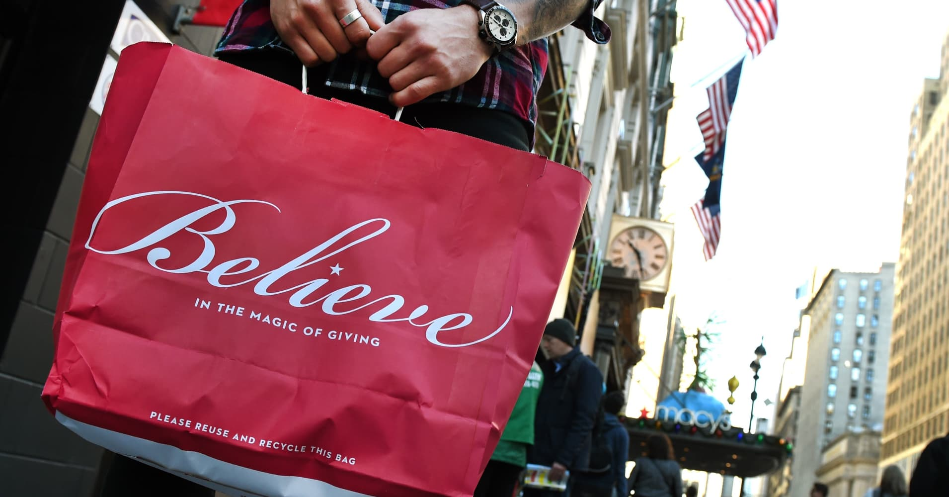 Shoppers are seen outside Macy's Herald Square in midtown Manhattan in New York.