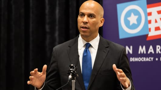 U.S. Senator Cory Booker (D-NJ) seen speaking during the Open Markets Institute's conference, A Right to Compete: Are Monopolies Crushing Entrepreneurship in Washington, DC.