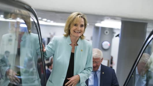 Sen. Cindy Hyde-Smith, R-Miss, at the Capitol on June 26, 2018.