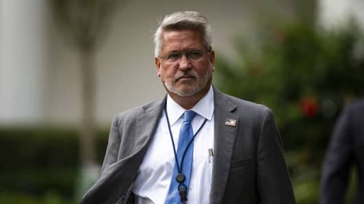 Bill Shine, White House communications director, arrives in the Rose Garden on the South Lawn of the White House, Sept. 20, 2018.