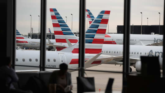 American Airlines aircraft at the gates in O'Hare International Airport, Chicago.